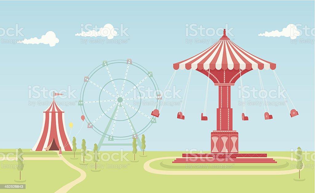 Swing Carousel Fairground vector art illustration