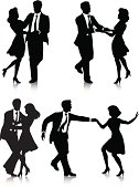 Vector art of four couples swing dancing.