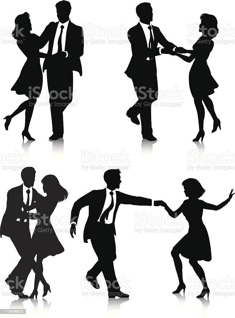 Swing Dancer Silhouettes vector art illustration
