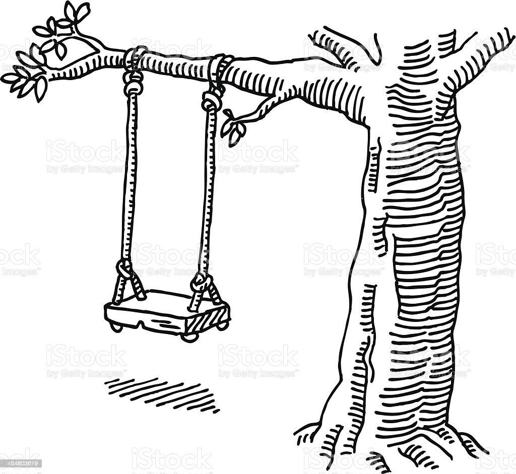 Balançoire Arbre Dessin Vecteurs Libres De Droits Et Plus D