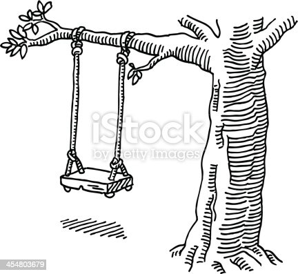 Swing Tree Drawing Stock Vector Art & More Images of Black