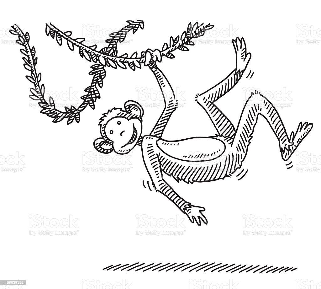 Swinging Cartoon Monkey Drawing Royalty Free Swinging Cartoon Monkey Drawing  Stock Vector Art U0026amp;