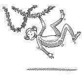 Swinging Cartoon Monkey Drawing