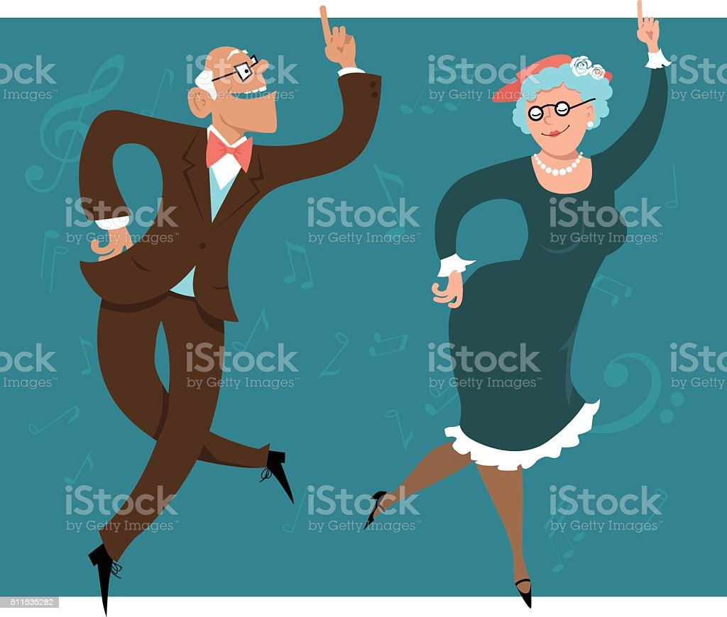 Swinging Seniors vector art illustration