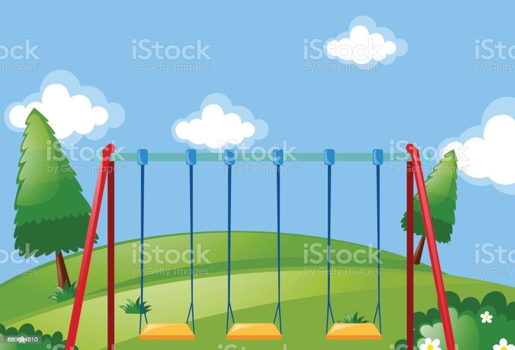 Swings in the green park vector art illustration