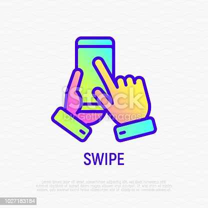 istock Swipe by hand on mobile phone thin line icon. Modern vector illustration. 1027183184