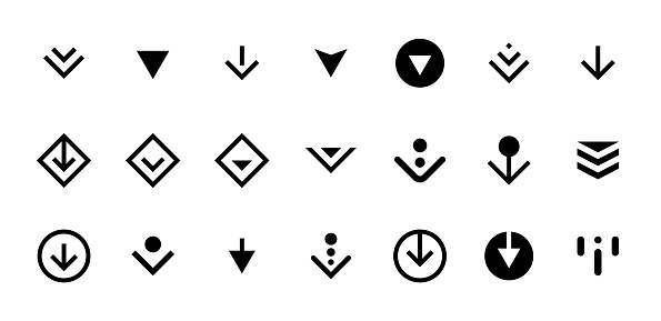 Swipe top down or download icon scroll pictogram set isolated for app web ui ux design. Vector black arrow bottom for application and social network website. Simple button illustration