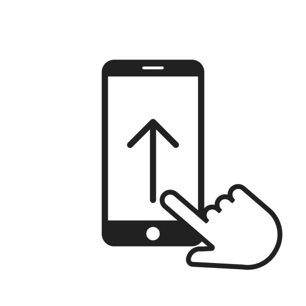 Swipe up arrow on smartphone icon with hand or pointer. Phone screen. Move finger. Swipe up arrow on smartphone icon with hand or pointer. Phone screen. Move finger. EPS 10 collection stock illustrations