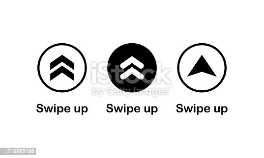 Swipe up, arrow up icon modern button for web or appstore design black symbol isolated on white background. Vector EPS 10