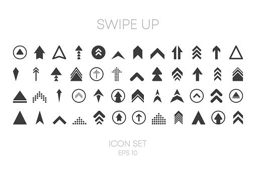 Swipe Up big collection icons of different style on white background. Vector illustration