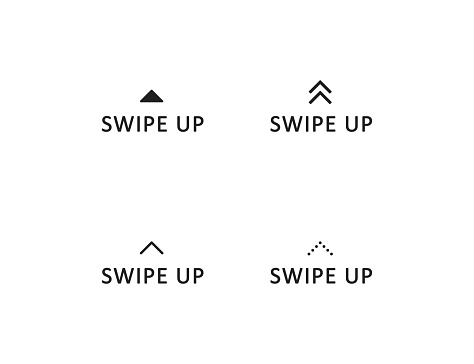 Swipe up icon, arrow button logo, scroll story sign ellement in vector flat