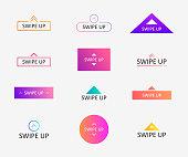 Swipe up icon set for social media stories, scroll pictogram. Arrow up logo for blogger.
