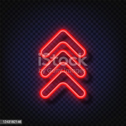 Swipe up neon sign. Glowing neon arrow pointer isolated. Realistic glowing Bright neon arrow. Button for social media.