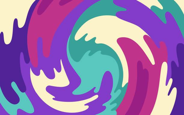 tło abstrakcyjnego obiektu blob wirujące - kolory stock illustrations