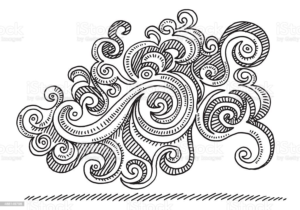 Swirl Abstract Doodle Drawing vector art illustration