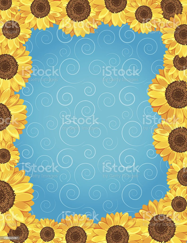 Swirl Background with Sunflower Frame royalty-free stock vector art