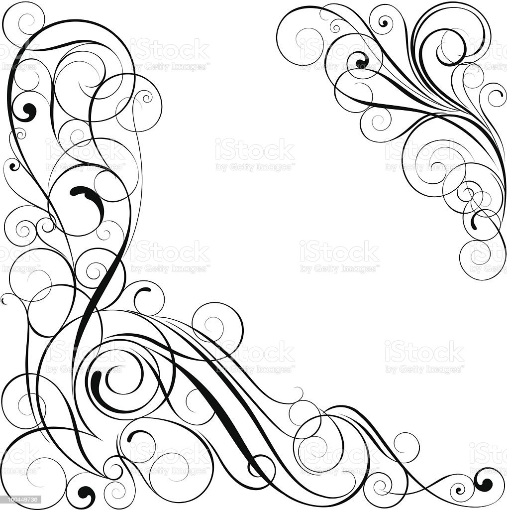 Swirl black corner design royalty-free swirl black corner design stock vector art & more images of angle