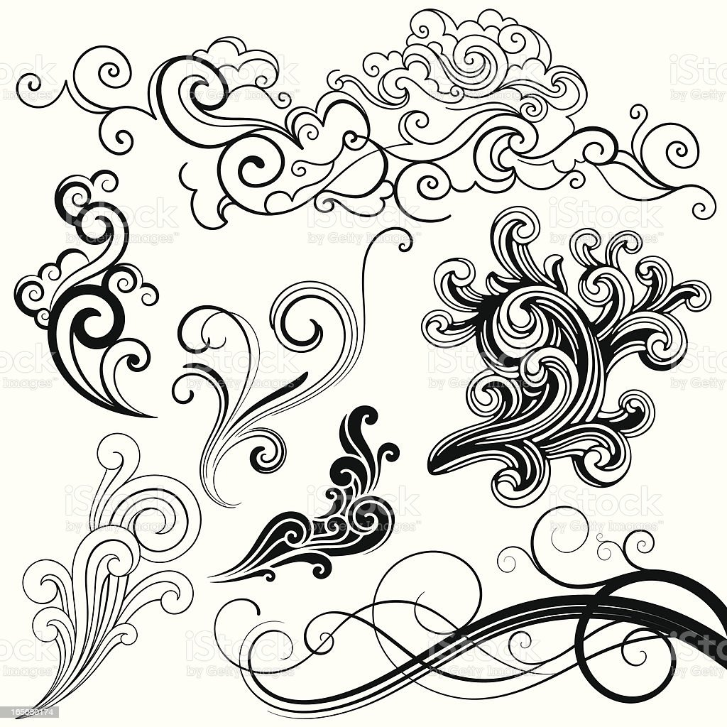 Swirl Elements royalty-free stock vector art