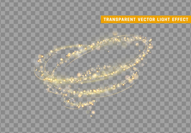Swirl Golden light effect. Stardust gold glitter. Swirl Golden light effect. Stardust gold glitter. Sparkle star dust vector illustration. Glowing sparkling particles on background with transparency swirl pattern stock illustrations