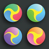Icon Set In Various Colors.