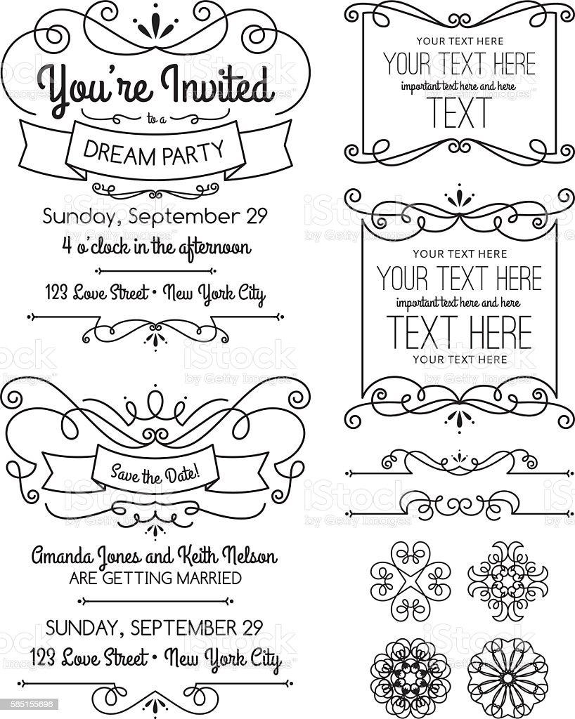 Swirl Invitations and Elements vector art illustration
