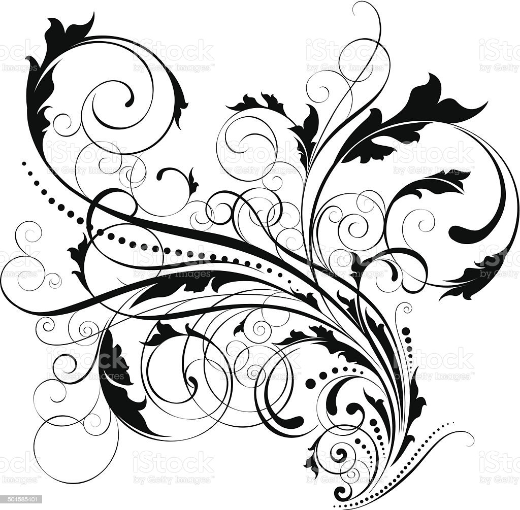 Swirl Leaf Black Design Stock Illustration - Download Image Now - iStock