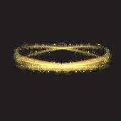 Swirl lines with light effect. Sparkling isolated circles. Graphic concept for your design. Illustrated vector.