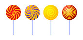 Swirl lollipops. Colored sugar candies. Vector illustration isolated on white background. Vector illustration