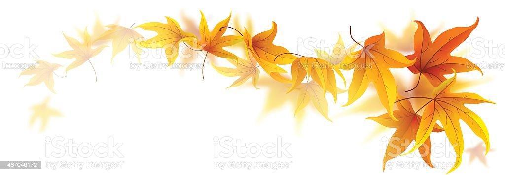 Swirl of autumn leaves vector art illustration
