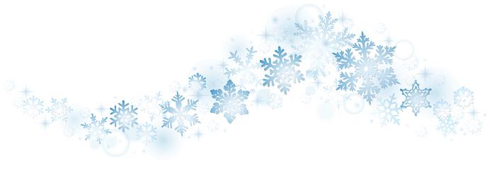 Swirl of blue snowflakes