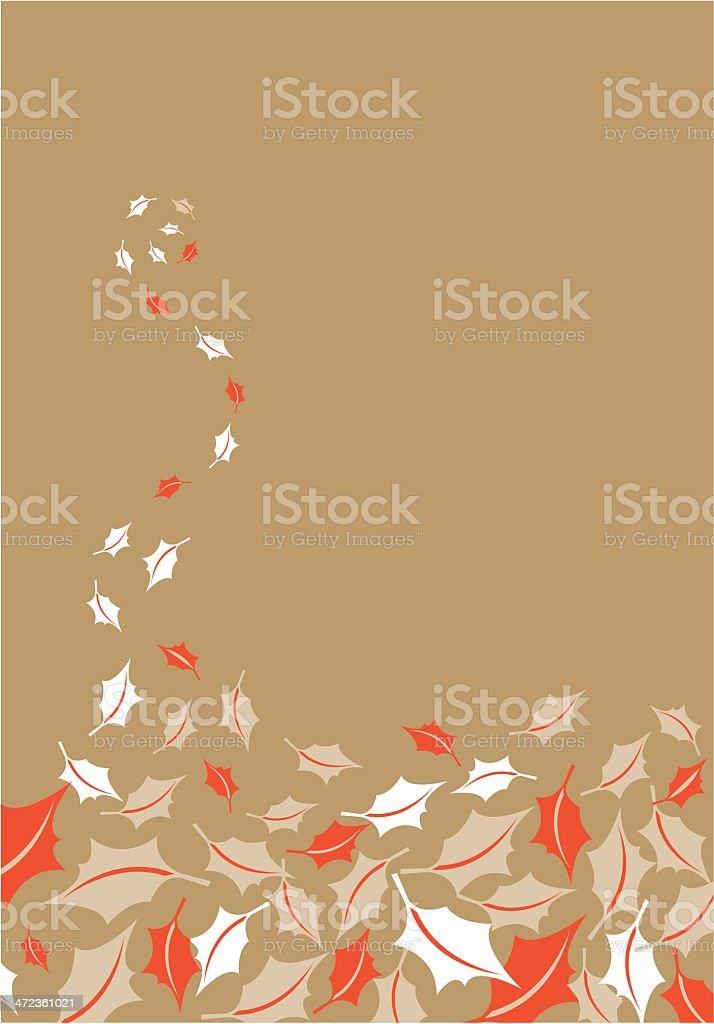 Swirl of Falling Christmas Holly Leaves Border royalty-free stock vector art