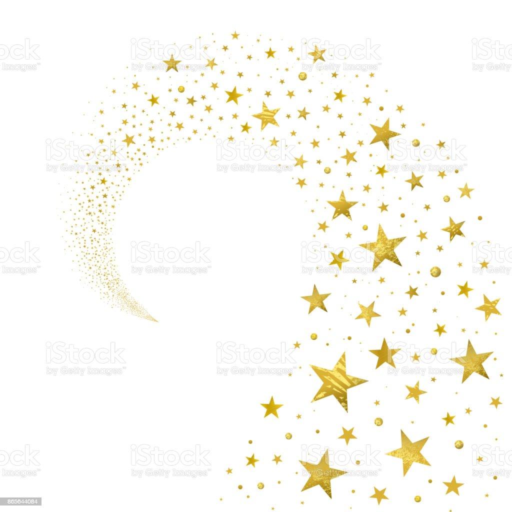 Swirl of Gold Stars vector art illustration