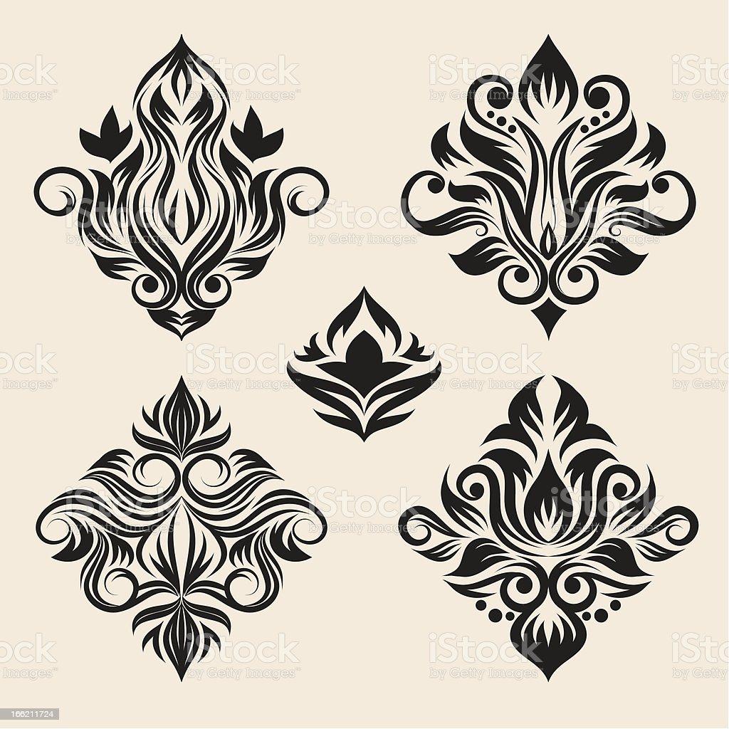 Swirl Ornament Set vector art illustration