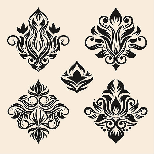 Swirl Ornament Set vector art illustration