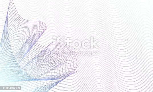 Swirl pattern on waving ripple thin lines. White background. Abstract vector multicolor waves. Guilloche art line design, purple, turquoise gradient. Technology glowing horizontal composition, copy space. EPS10 illustration