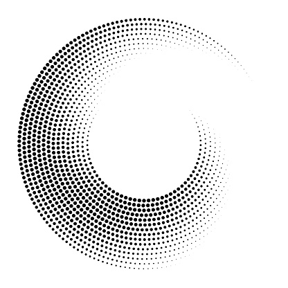 Circular pattern of dots fading using size. Multiple orbits. Please watch from distance to get full effect.
