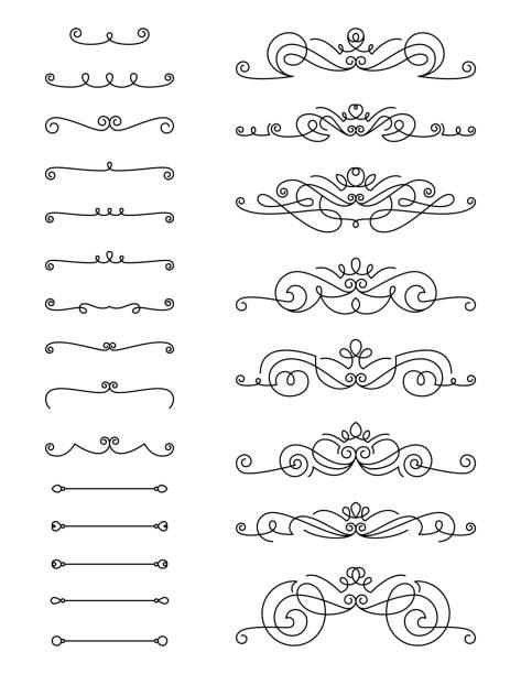 Swirl Text Divider Set vector art illustration