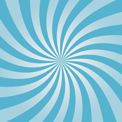 Swirling blue sunburst pattern. Radial design for comic background. Vortex backdrop. Vector