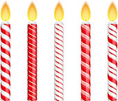 Swirling candy cane birthday candles