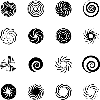 Swirling circles. Abstract spirals and liquid twirls. Hypnotic shapes black vector graphic isolated on white background