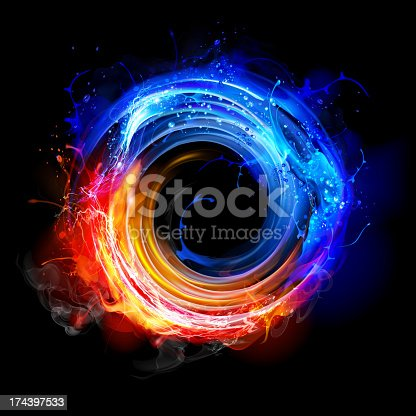 Swirling fire and water concept background. isolated on black background. 10 EPS file with transparency effects and overlapping colors.