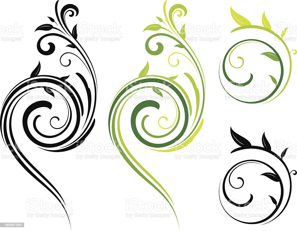 Swirling floral design royalty-free swirling floral design stock vector art & more images of curled up