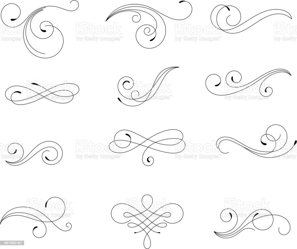 Swirling floral elements vector art illustration