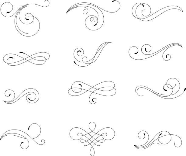 swirling floral elements - swirl pattern stock illustrations