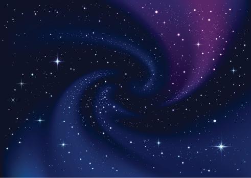 Swirling galaxy and stars in dark blue sky