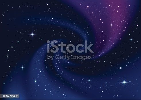 istock Swirling galaxy and stars in dark blue sky 165753498