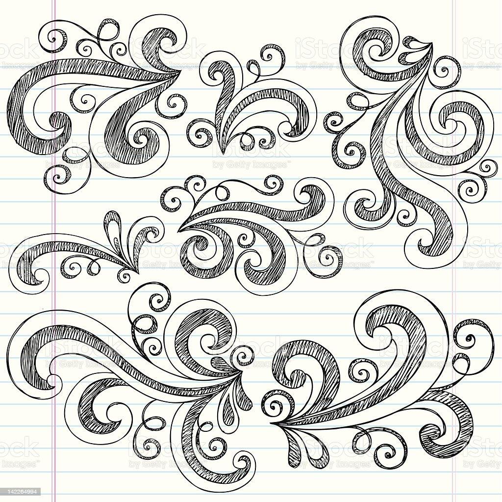 Swirls Back to School Sketchy Notebook Doodles Set vector art illustration