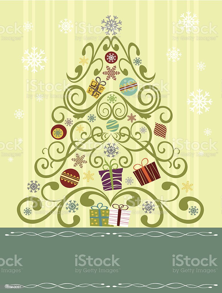 Swirls Christmas tree with background royalty-free swirls christmas tree with background stock vector art & more images of announcement message
