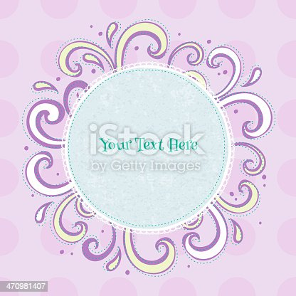 istock Swirls colorful vintage background. Round green frame on purple back. 470981407