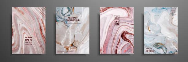 stockillustraties, clipart, cartoons en iconen met wervelingen van marmer of de rimpelingen van agaat. vloeibaar patroon van marmer. vloeibare art. toepassing voor ontwerp omvat, presentatie, uitnodiging, folders, jaarverslagen, affiches en visitekaartjes. moderne kunstwerken. - marmeren